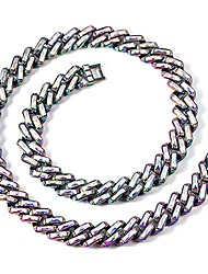 cheap -men women cuban link chain - rainbow diamond necklace 10mm iced out cuban link 5a + square well-cut cz 18k silver-plated titanium miami chain hip hop couples jewelry (rainbow, 17)