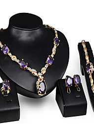 cheap -Women's Synthetic Amethyst Jewelry Set Bridal Jewelry Sets Geometrical Fashion Gold Plated Earrings Jewelry Gold For Wedding Anniversary Party Evening Festival 1 set