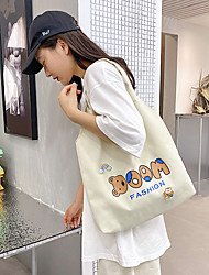cheap -Canvas Shoulder storage bag back to school Halloween goody bag white black cute bears cartoon  portable grocery shopping cloth book tote