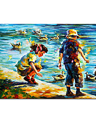 cheap -Oil Painting Handmade Hand Painted Wall Art August And September People Landscape Abstract Home Decoration Decor Stretched Frame Ready to Hang