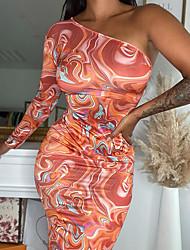 cheap -Women's Sheath Dress Midi Dress Yellow Red Long Sleeve Print Print Summer cold shoulder Casual Sexy 2021 S M L