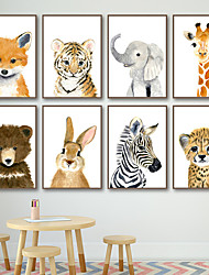 cheap -Wall Art Canvas Prints Painting Artwork Picture Cartoon Nursery Animal Home Decoration Decor Rolled Canvas No Frame Unframed Unstretched