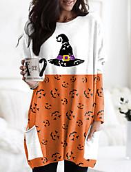 cheap -Women's Halloween Abstract Painting T shirt Graphic Color Block Pumpkin Long Sleeve Pocket Print Round Neck Basic Halloween Tops Orange / 3D Print