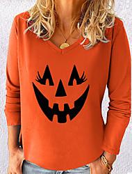cheap -Women's Halloween Abstract Painting T shirt Graphic Pumpkin Long Sleeve Print V Neck Basic Halloween Tops Cotton Blue Yellow Gray