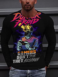 cheap -Men's Unisex Tee T shirt Shirt 3D Print Graphic Prints Game Console Print Long Sleeve Daily Tops Casual Designer Big and Tall Black