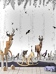 cheap -Mural Wallpaper Wall Sticker Covering Print Peel and Stick Self Adhesive  Fawn's   Forest  Cartoon Botanical Animal PVC / Vinyl  Home Decor