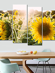 cheap -4 Panels Wall Art Canvas Prints Painting Artwork Picture Plant Sunflower Home Decoration Decor Rolled Canvas No Frame Unframed Unstretched
