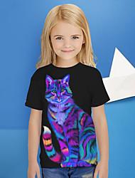 cheap -Kids Girls' T shirt Tee Short Sleeve Cat Graphic 3D Graffiti Animal Luminous Print Black Children Tops Active Fashion Bright 2-13 Years / Cute
