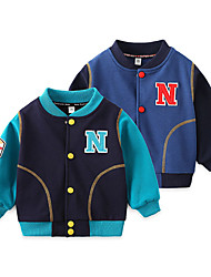 cheap -Kids Unisex Jacket & Coat 1pc Long Sleeve Light Blue Navy Blue Solid Color N Letter Cotton Daily Wear Casual Daily 2-6 Years
