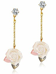 cheap -unique 14k gold acrylic rose flower dangle drop earrings hypoallergenic pink white floral petal stud earring with zircon for women girls lady bridal elegant statement jewelry gifts (white)