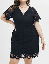 cheap -Women's Plus Size Dress Swing Dress Knee Length Dress Short Sleeve Solid Color Elegant Spring Summer Black XL XXL XXXL 4XL