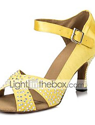 cheap -Women's Latin Shoes Heel Crystal / Rhinestone Flared Heel Yellow Red Green Ankle Strap Glitter Crystal Sequined Jeweled