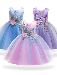 cheap -Kids Little Girls' Dress Lace Floral Party Blue Purple Blushing Pink Cotton Elegant Colorful Dresses All Seasons 3-12 Years
