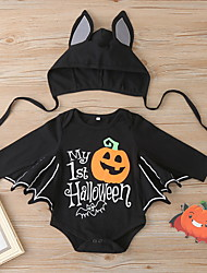 cheap -2 Pieces Baby Boys' Halloween Romper Basic Halloween Cotton Black Print Letter Print Long Sleeve / Fall