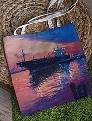 cheap -Canvas Shoulder storage bag back to school Halloween goody bag colorful beautiful sunrise portable grocery shopping cloth book tote