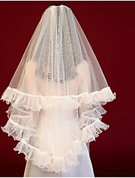 cheap -One-tier Ribbons / Cute Wedding Veil Shoulder Veils with Solid Tulle