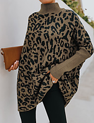 cheap -Women's Sweater Knitted Geometric Stylish Long Sleeve Loose Sweater Cardigans Turtleneck Fall Winter Khaki Black Brown