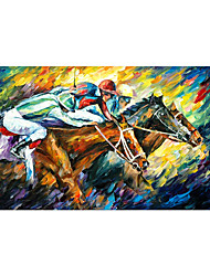 cheap -Oil Painting Handmade Hand Painted Wall Art Contemporary Palette knife Figure Portrait Equestrian Competition Home Decoration Decor Rolled Canvas No Frame Unstretched