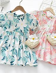 cheap -[90-130cm]sweet flower print puff sleeve dress with bag