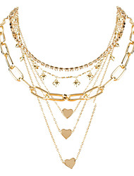 cheap -multi-layer chain necklace alloy love pendant claw chain simple clavicle chain necklace