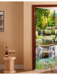 "cheap -3d door mural stickers - peel and stick door decals removable vinyl waterproof self-adhesive wallpaper wall art decor for home decoration 30.3x78.7"""