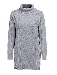 cheap -Women's Sweater Knitted Solid Color Stylish Basic Casual Long Sleeve Regular Fit Sweater Cardigans Turtleneck Fall Winter Grey Black / Holiday