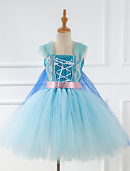 cheap -Princess Fairytale Elsa Dress Cosplay Costume Party Costume Girls' Movie Cosplay Cosplay Tutus Blue Dress Christmas Halloween Children's Day Polyester