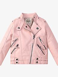 cheap -Kids Girls' Jacket Coat Long Sleeve Blushing Pink Black Red Plain Zipper Active Cool 3-13 Years / Fall / Spring