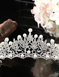 cheap -Bride Highlight Pearl Crown Rhinestone Bridal Tiara Knot Wedding Jewelry Accessories Birthday Party Crown