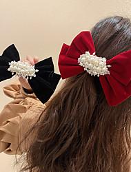 cheap -2 Pcs/set Simple Multi Color Bow Pearl Clip Headdress Women's Sweet Girl Heart Hairpin Small Fresh Hair Accessories