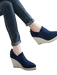 cheap -european and american wedges women 202 autumn and winter new style deep mouth fashion pointed toe thick-soled straw high heels ankle boots cross-border