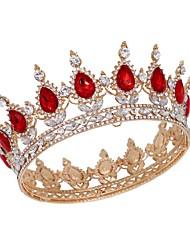 cheap -Crown Headdress Bride Golden Red Diamond Crystal Round Crown Full Crown Birthday Performance Accessories
