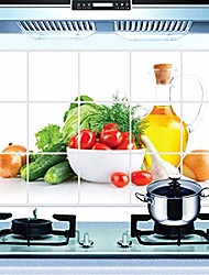 cheap -oilproof removable diy fruit & vegetables wall stickers wall decal art decor self adhesive wallpaper for kitchen home