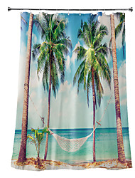 cheap -Shower Curtains with Hooks Rustic Coconut Bay Scenery Polyester Novelty Fabric Waterproof Shower Curtain for Bathroom