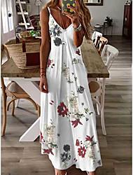 cheap -Women's Strap Dress Maxi long Dress Grey White Sleeveless Flower Classic Style Print Spring Summer Deep V Strap Casual Sexy 2021 S M L XL XXL XXXL / Cotton
