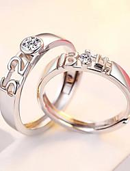 cheap -Couple Rings Silver Rhinestone S925 Sterling Silver Love Stylish Simple Unique Design 2pcs Adjustable / Couple's / Adjustable Ring