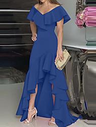 cheap -Women's A Line Dress Maxi long Dress Wine Fuchsia Green Black Dark Blue Short Sleeve Solid Color Ruffle Plus High Low Fall V Neck Elegant Formal 2021 S M L XL XXL 3XL 4XL 5XL
