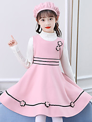 cheap -Kid's Little Girls' Dress Flower / Floral Solid Color Pink hat + shawl + skirt + sweater Pink hat + shawl + skirt Red hat + shawl + skirt + sweater Dresses
