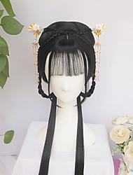 cheap -halloweencostumes Vintage Wig Ancient Chinese Wig Braids Of Hair Long Straight Black Hair Custom Product Air Bangs Modelling Wig Hair Ornament