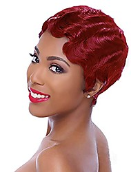 cheap -halloweencostumes Roaring 20S Wig Short Curly 100% Brazilian Virgin Human Hair Wig Finger Wave Red Parting Wig for Women Pixie Cut Mommy Wig (530#)