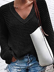 cheap -Women's Sweater Knitted Solid Color Stylish Long Sleeve Sweater Cardigans V Neck Fall Army Green Gray White