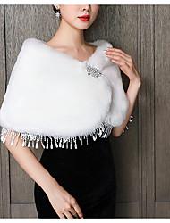 cheap -Sleeveless Elegant / Cute Faux Fur / Chiffon Wedding Party Women's Wrap With Rhinestone / Tassel / Appliques