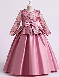 cheap -Ball Gown Floor Length Flower Girl Dresses Wedding Satin Half Sleeve Jewel Neck with Solid