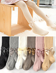 cheap -Kids Girls' Tights 1pc Light Pink Blushing Pink White Solid Color Ribbon bow Cotton Daily Wear Casual Socks 6 Months+