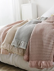 cheap -Cotton Throw Blanket All Season For Couch Chair Sofa Bed Picnic Knit Handmade Nordic Rustic Style Ruffle Waffle  Soft Fluffy Warm Cozy Plush Autumn Winter