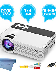 cheap -Factory Outlet UB10 LCD Projector WIFI Projector Keystone Correction Manual Focus WiFi Bluetooth Projector 720P (1280x720) 2000 lm Compatible with TV Stick HDMI USB VGA