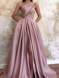 cheap -A-Line Minimalist Sexy Wedding Guest Formal Evening Valentine's Day Dress One Shoulder Sleeveless Sweep / Brush Train Satin with Pleats Split 2021
