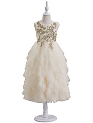 cheap -A-Line Ankle Length Flower Girl Dresses Party Chiffon Sleeveless Jewel Neck with Appliques