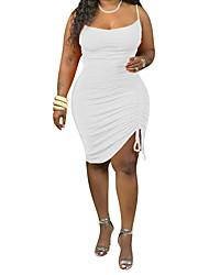 cheap -Women's Plus Size Dress Strap Dress Short Mini Dress Sleeveless Solid Color Ruched Casual Spring Summer Blue Purple Yellow L XL XXL XXXL 4XL / Cotton
