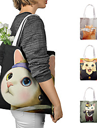 cheap -Canvas Shoulder storage bag back to school Halloween goody bag portable cute animals huge cat grocery shopping cloth book tote
